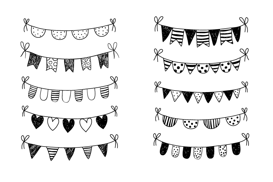 Black and white hand drawn doodle bunting clipart.