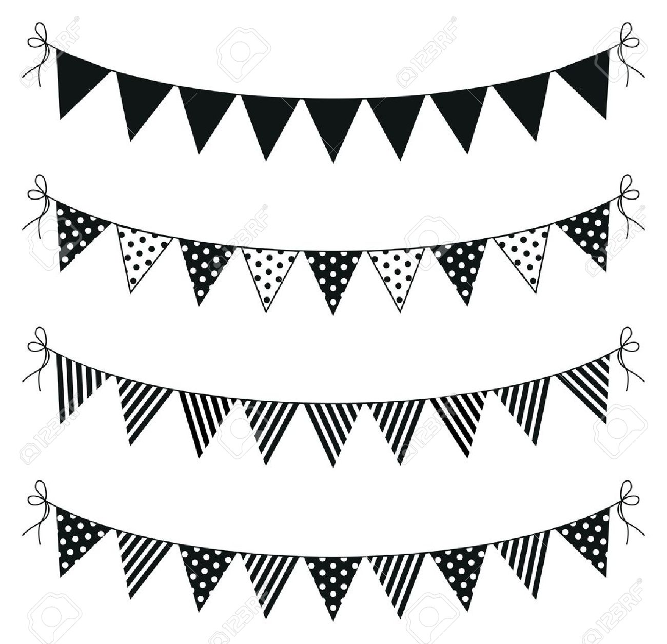 a set of four lines of bunting.