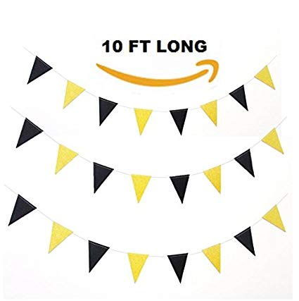 Black and Gold Glittery Sparkling Triangle Pennant Flag Bunting Banner  Garland Holiday Decoration. 10 ft Vintage Style Party Supplies, 15 flags..
