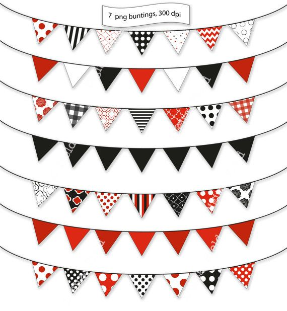 Black, white and red bunting clip art set.