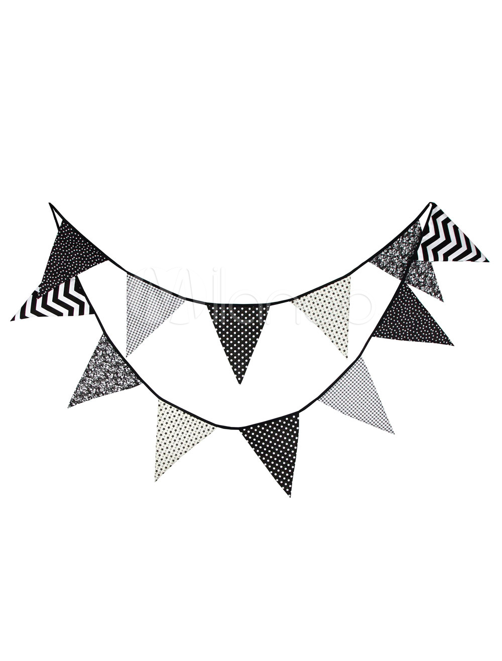 Wedding Banner Flags Clipart Black Triangle Bunting Decorations.