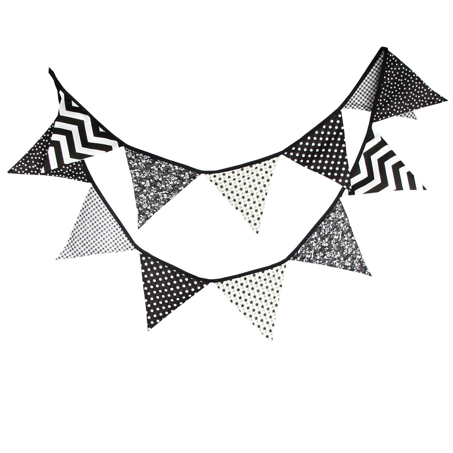 10.5 Feet Double Sided Black and White Cotton Fabric Triangle Pennant Flag  Bunting Banner 12 Flags.
