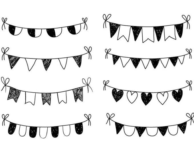 Hand drawn Bunting Clipart Doodle bunting Scrapbooking Commercial.