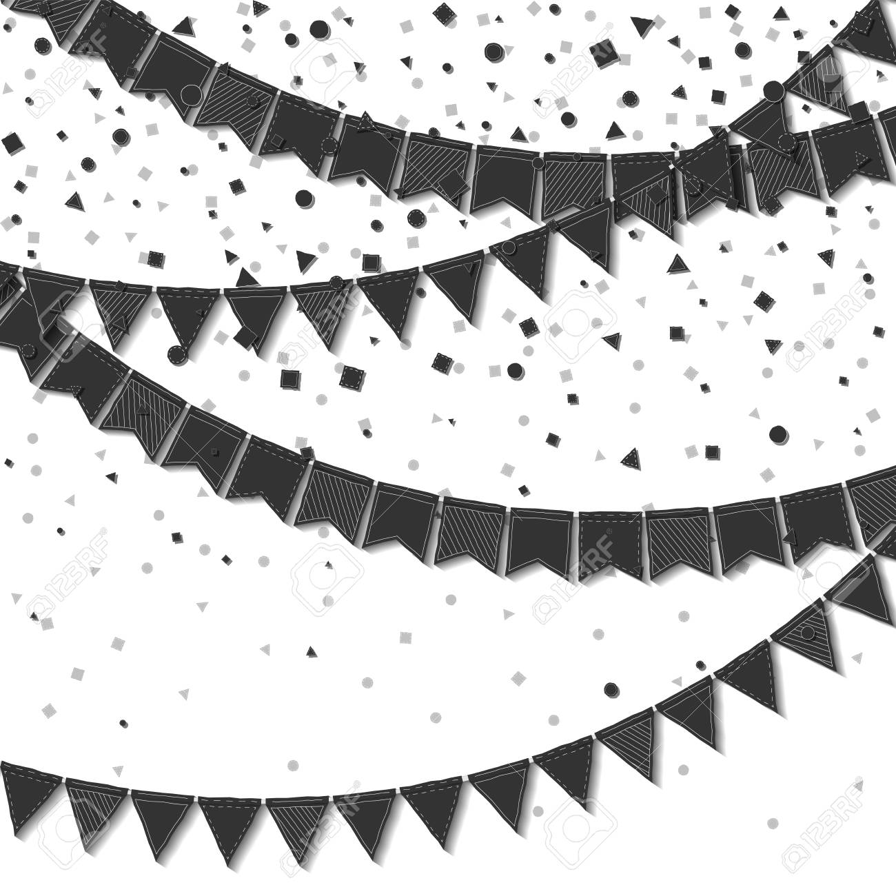 Bunting flags. Classy celebration card. Black on white holiday...