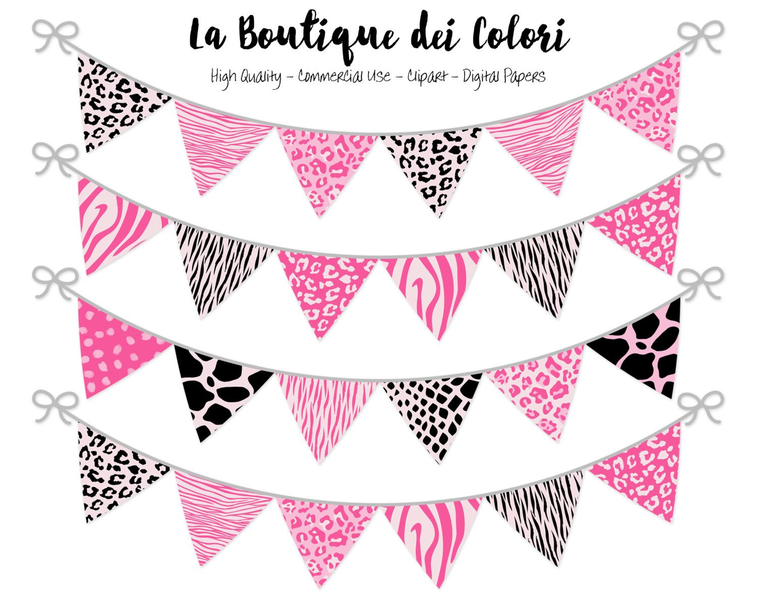 Pink and Black Animal Prints Bunting Banner Clipart.