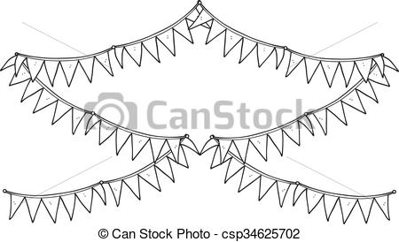 black and white cartoon bunting flags.