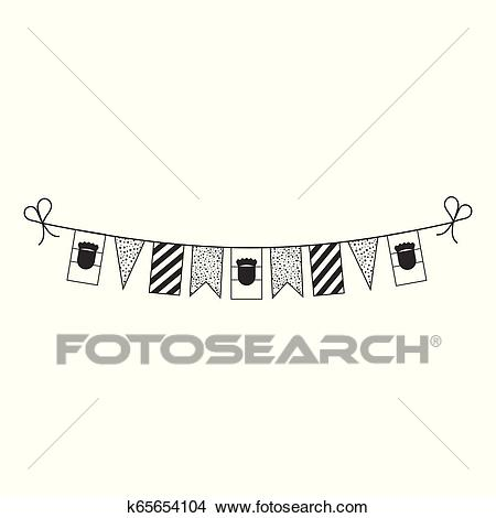 Decorations bunting flags for Croatia national day holiday in black outline  flat design Clipart.