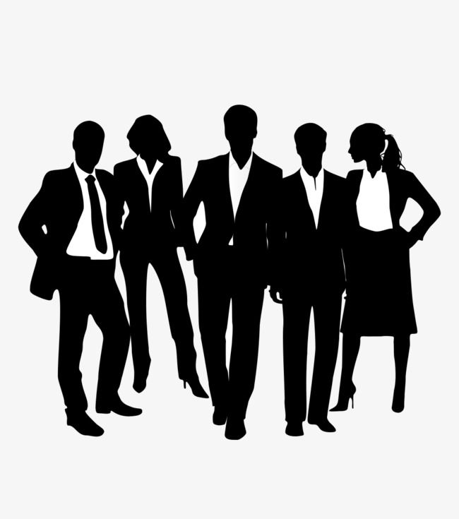 Black Business People Silhouettes, Business Clipart, People.