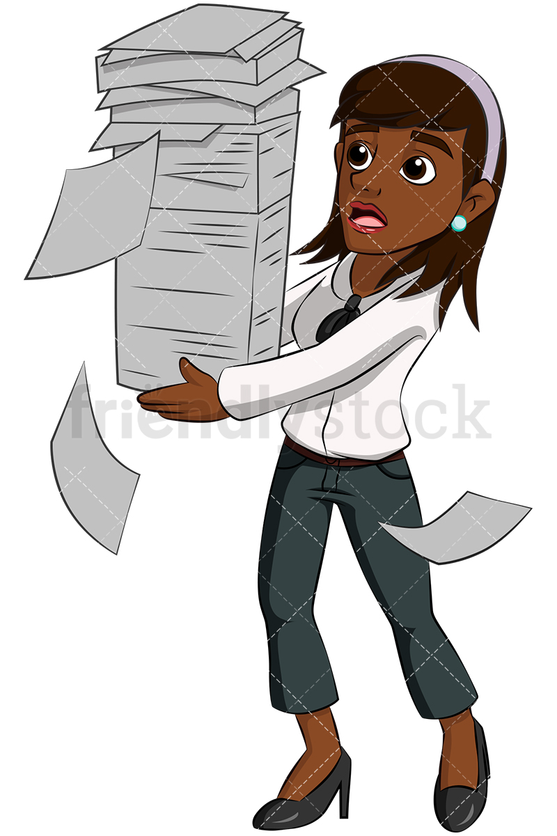 A Black Businesswoman Juggling A Stack of Papers As It Begins To Tumble.