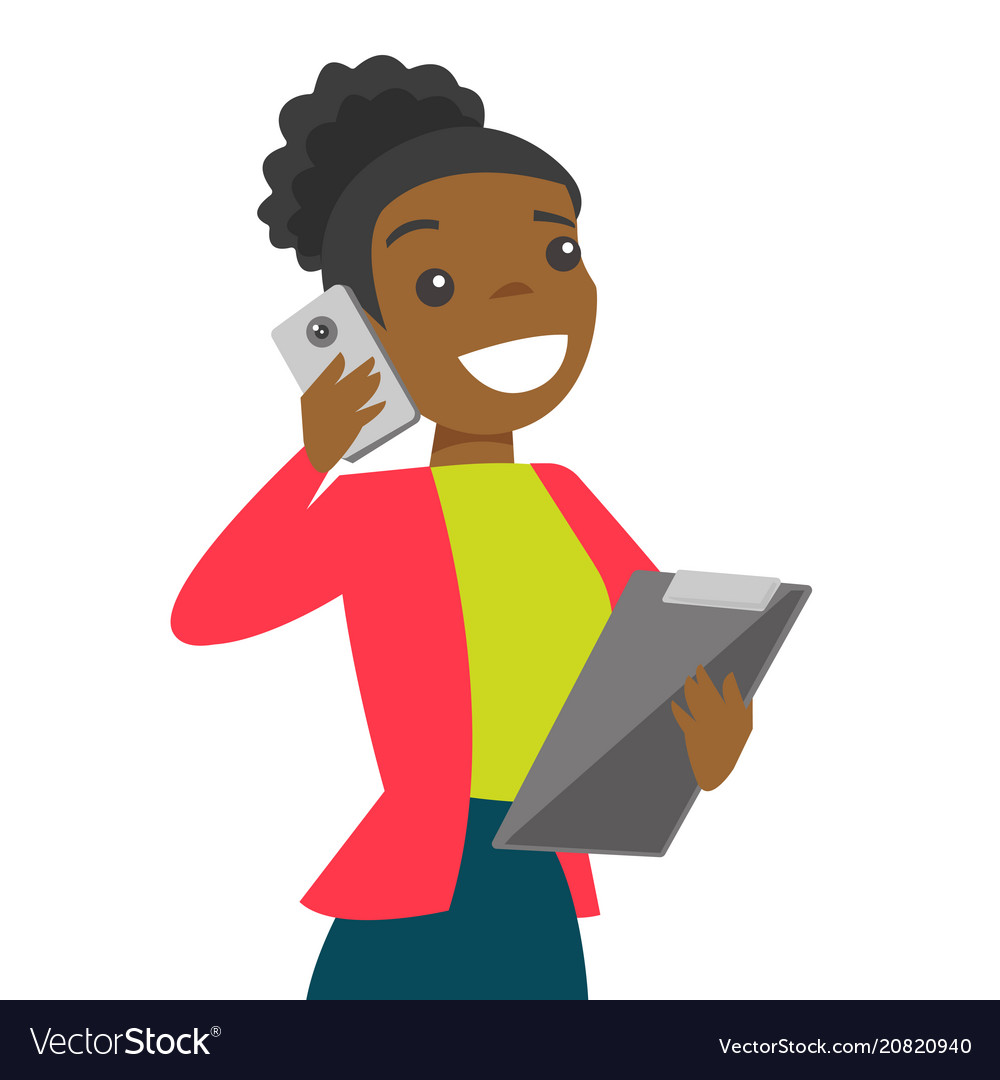 Black businesswoman negotiating on smartphone.