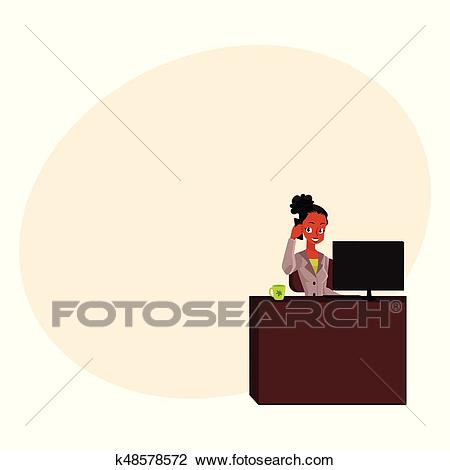 Black, African American businesswoman, secretary, office manager talking by  phone Clipart.