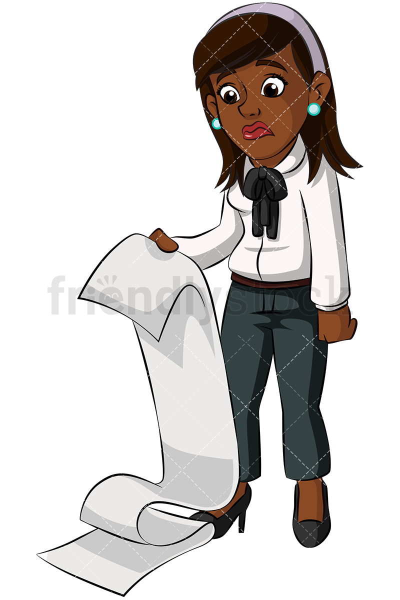 A Distressed Black Businesswoman Reading A Mound Of Paperwork.