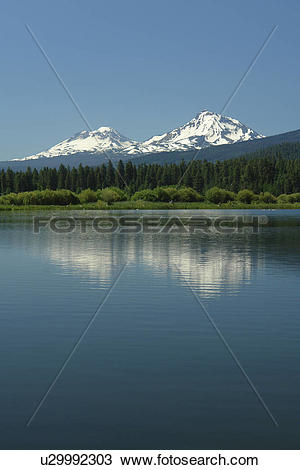 Stock Photo of Three Sisters, OR, Oregon, Black Butte Ranch, lake.