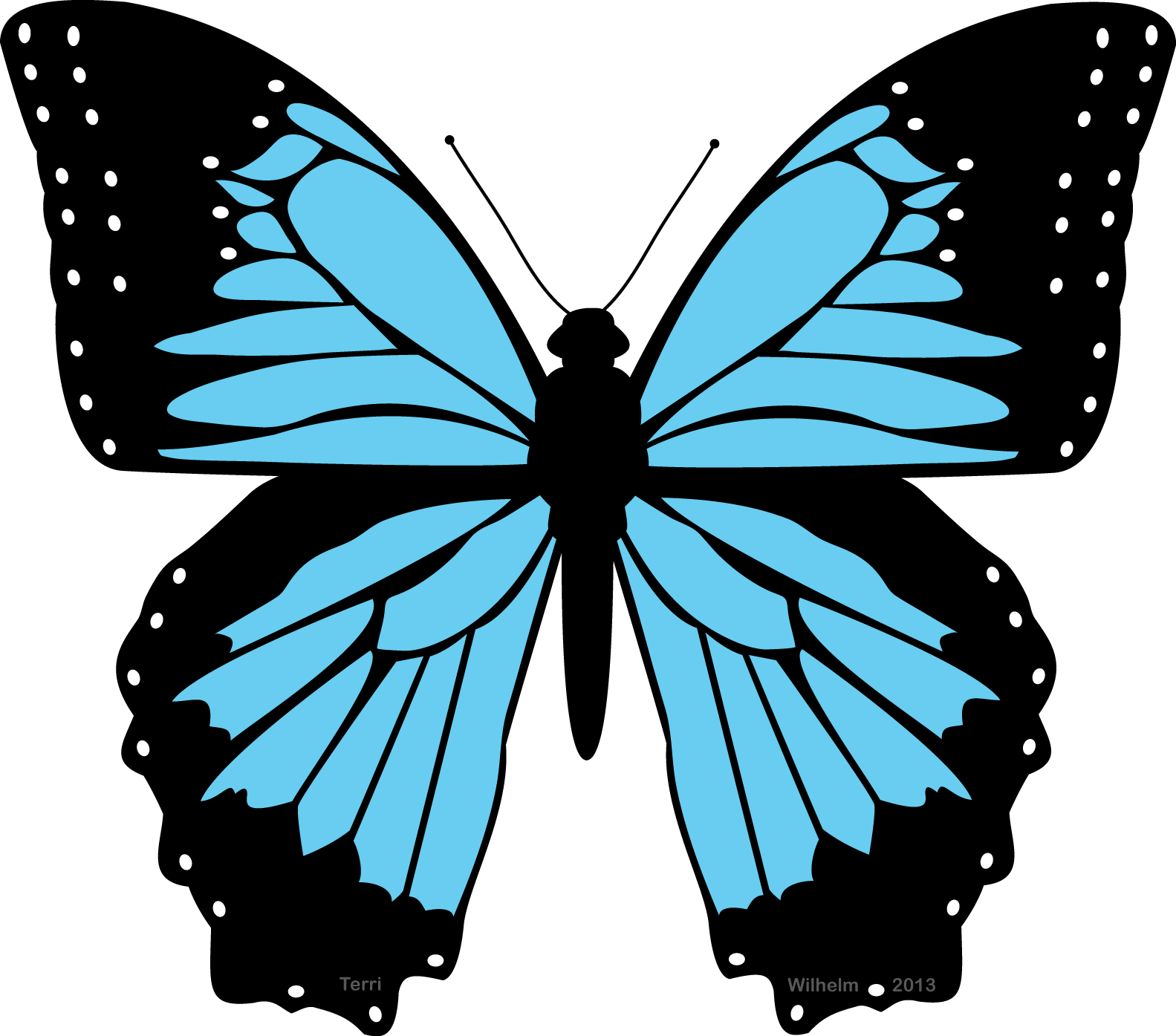 Black and Blue Butterfly Clipart.