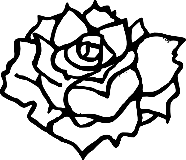 Rose Clip Art Black And White.
