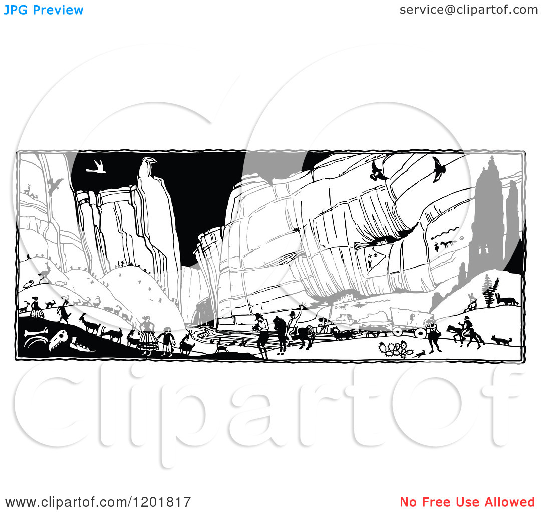 Clipart of a Vintage Black and White Busy Canyon.