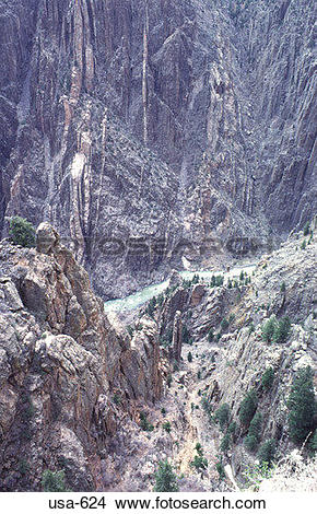Stock Photo of View Down Black Canyon Gunnison Park Colorado usa.