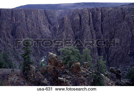 Stock Photography of Cliff Side Black Canyon Colorado usa.