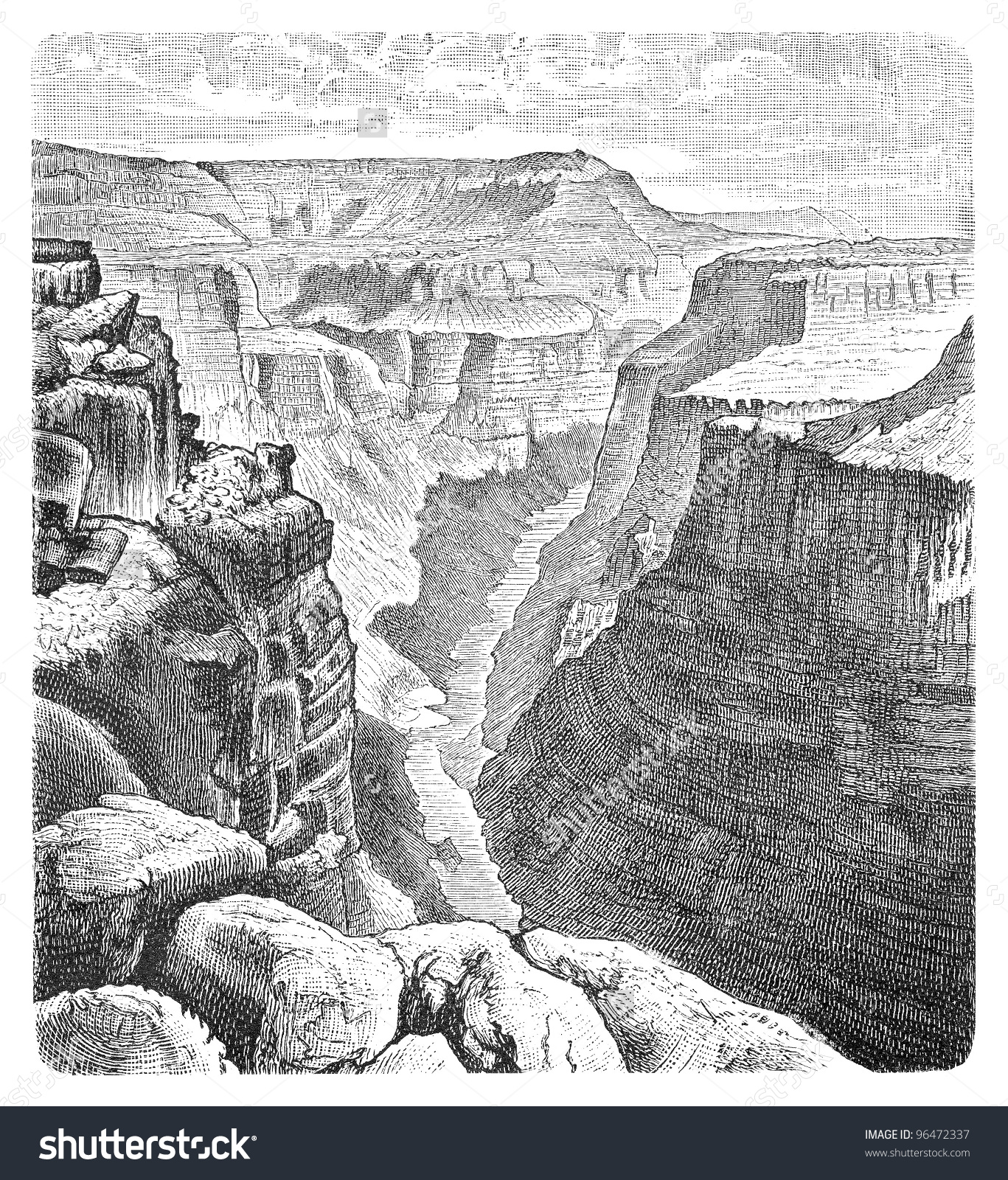 Colorado River Grand Canyon By Toroweap Stock Illustration.
