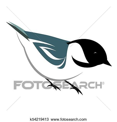 Stylized Black Capped Chickadee Clipart.