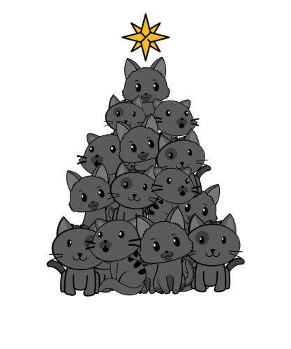 Meowy Christmas Tree Cute Black Cat by BUBL TEES.