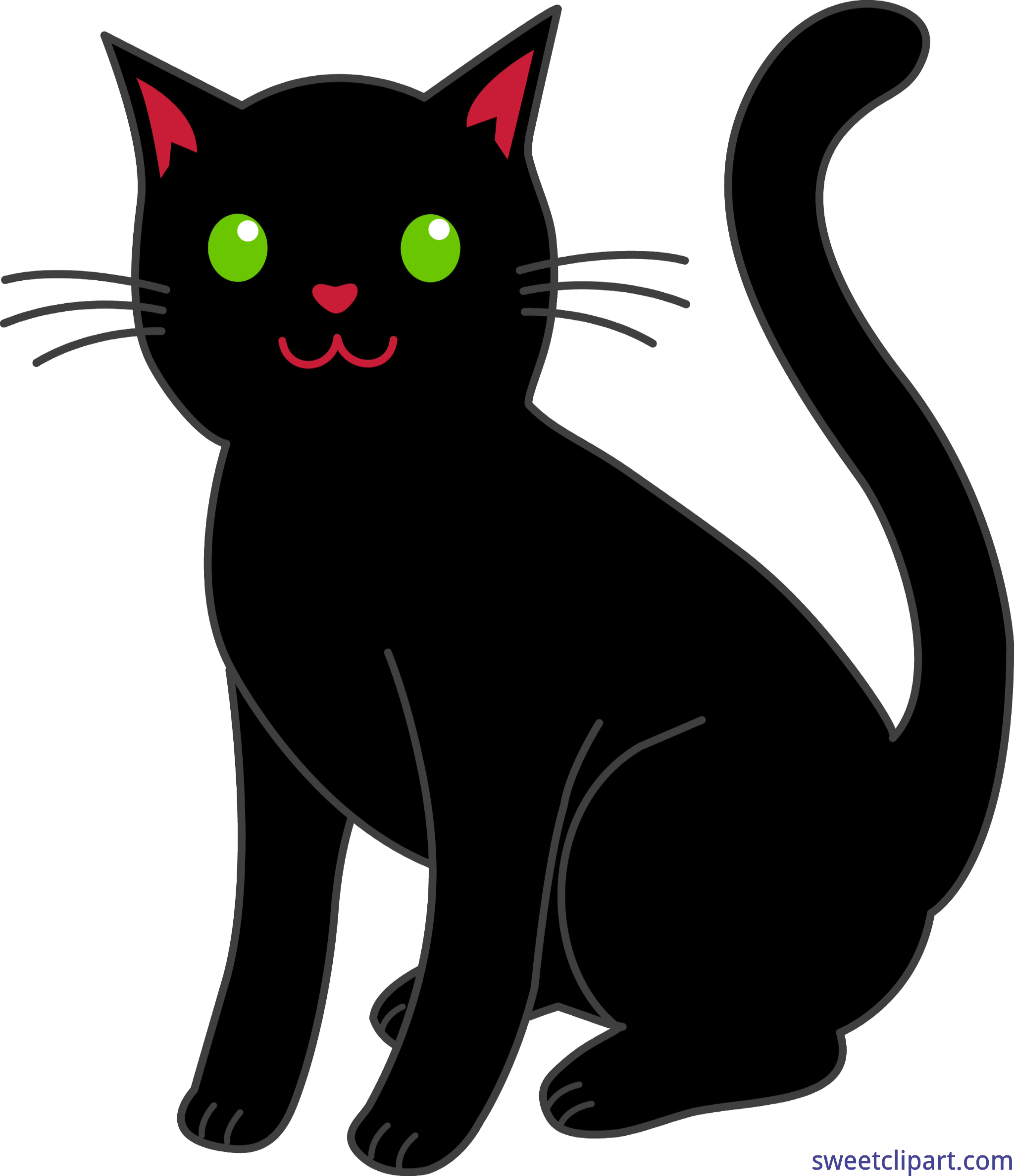 Halloween Black Cat Clip Art.