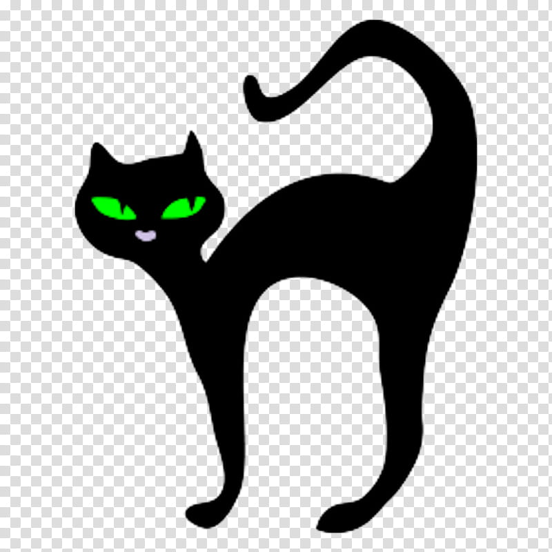 Halloween, black cat illustration transparent background PNG.