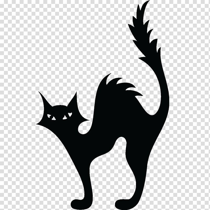 Cat Kitten Halloween Silhouette , black cat transparent.