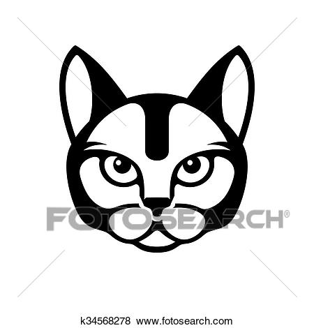 Black Cat Face Icon on White Background. Vector Clip Art.