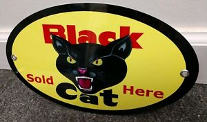 Details about Black Cat Fireworks Sold Here Sign  Oval.
