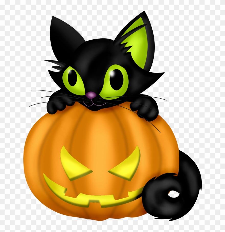 Black Cat And Pumpkin Clipart.