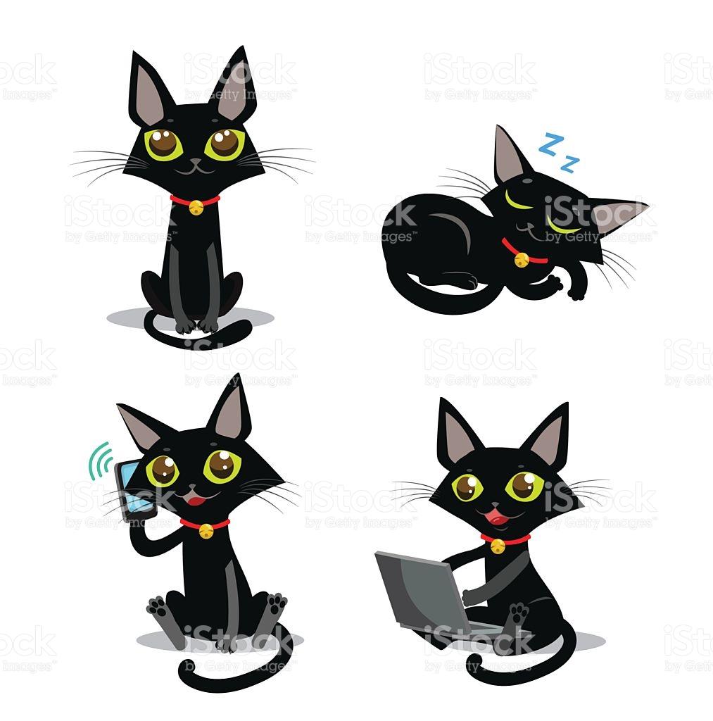Black Cat Sitting Cat Sleeping Cat Cat And Phone stock vector art.