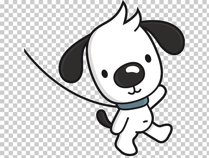 Dog walking Cartoon Illustration, The dog waved goodbye PNG.