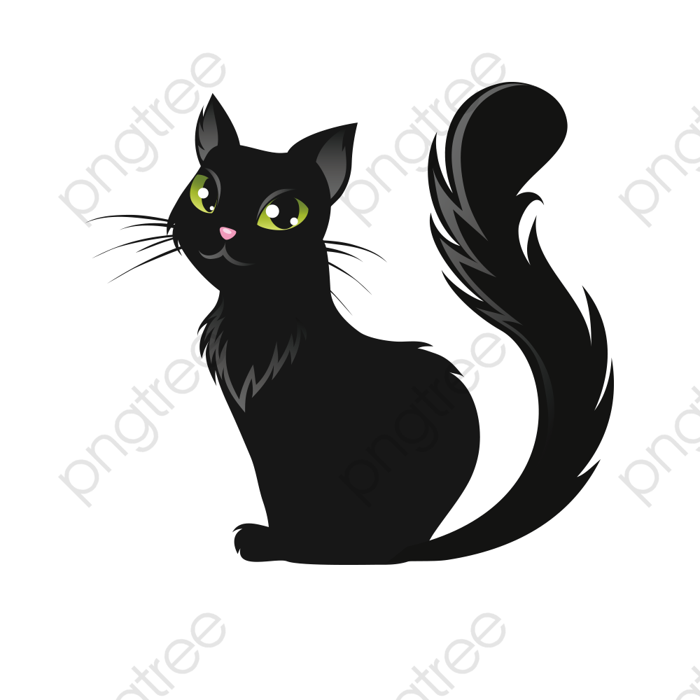 Halloween Black Cat Vector Material, Cat Clipart, Halloween, Evil.