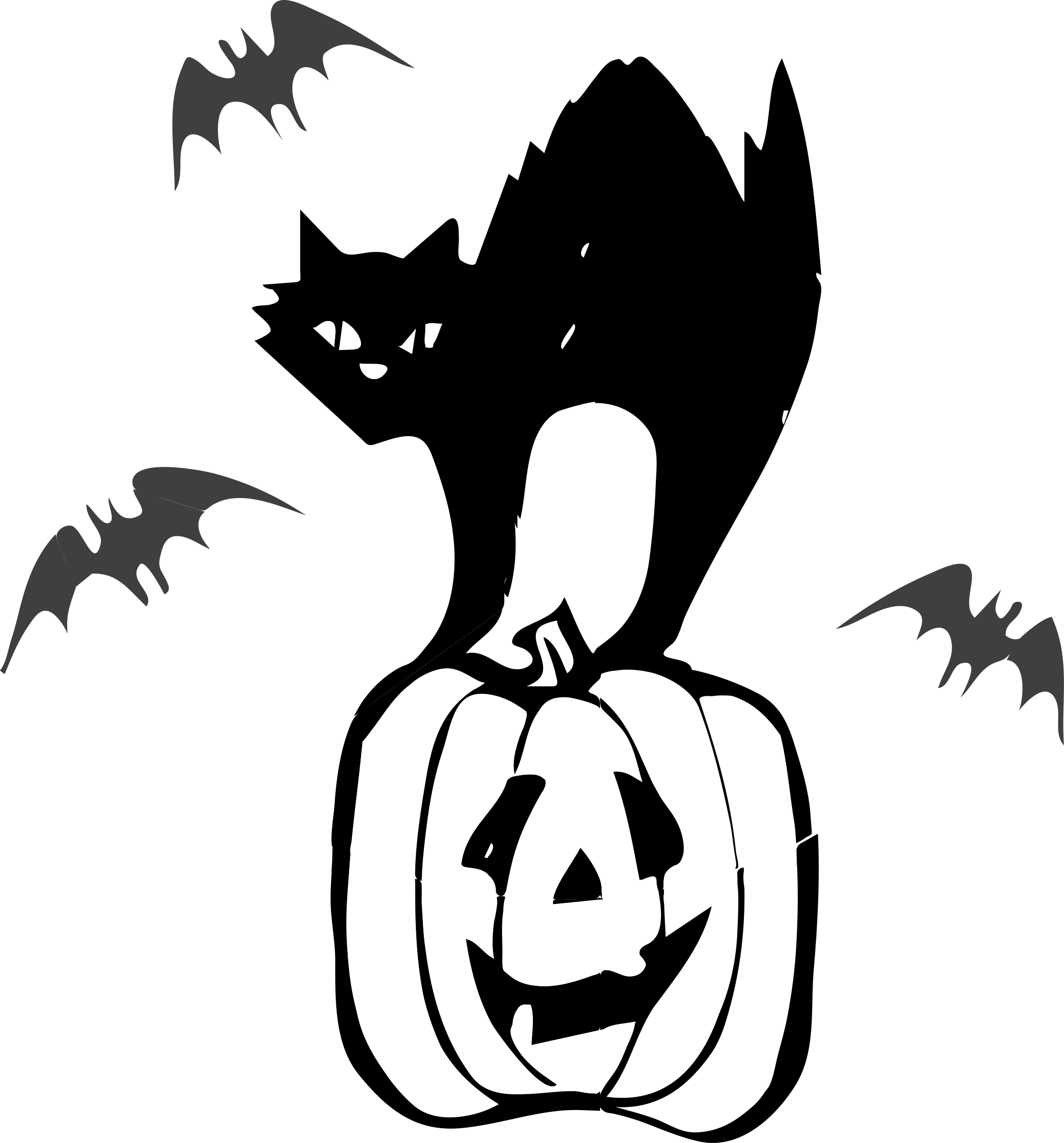 Black Cat Halloween Clipart On Pumkin Indis Site Transparent Png.