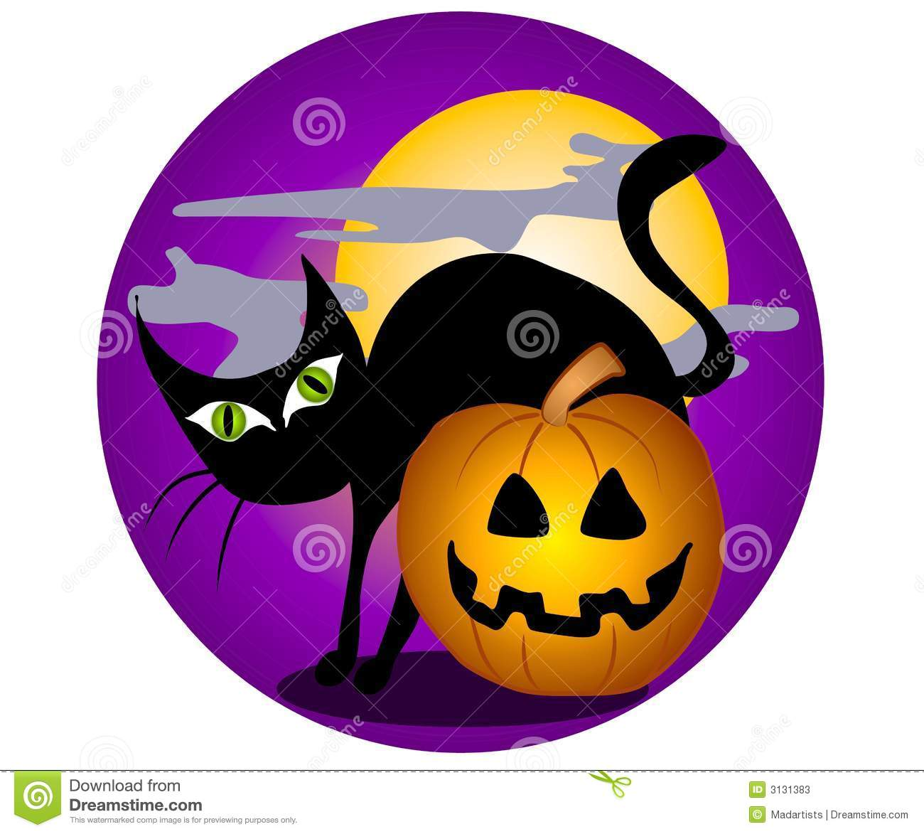 Black Cat Halloween Clip Art 2 Stock Illustration.