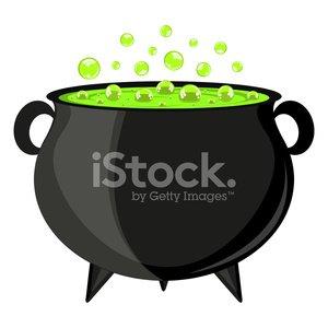Black Cauldron Witches Potion for Halloween premium clipart.