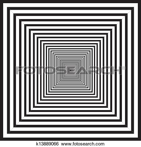 Clip Art of Black squares tunnel centre perspective k13889066.