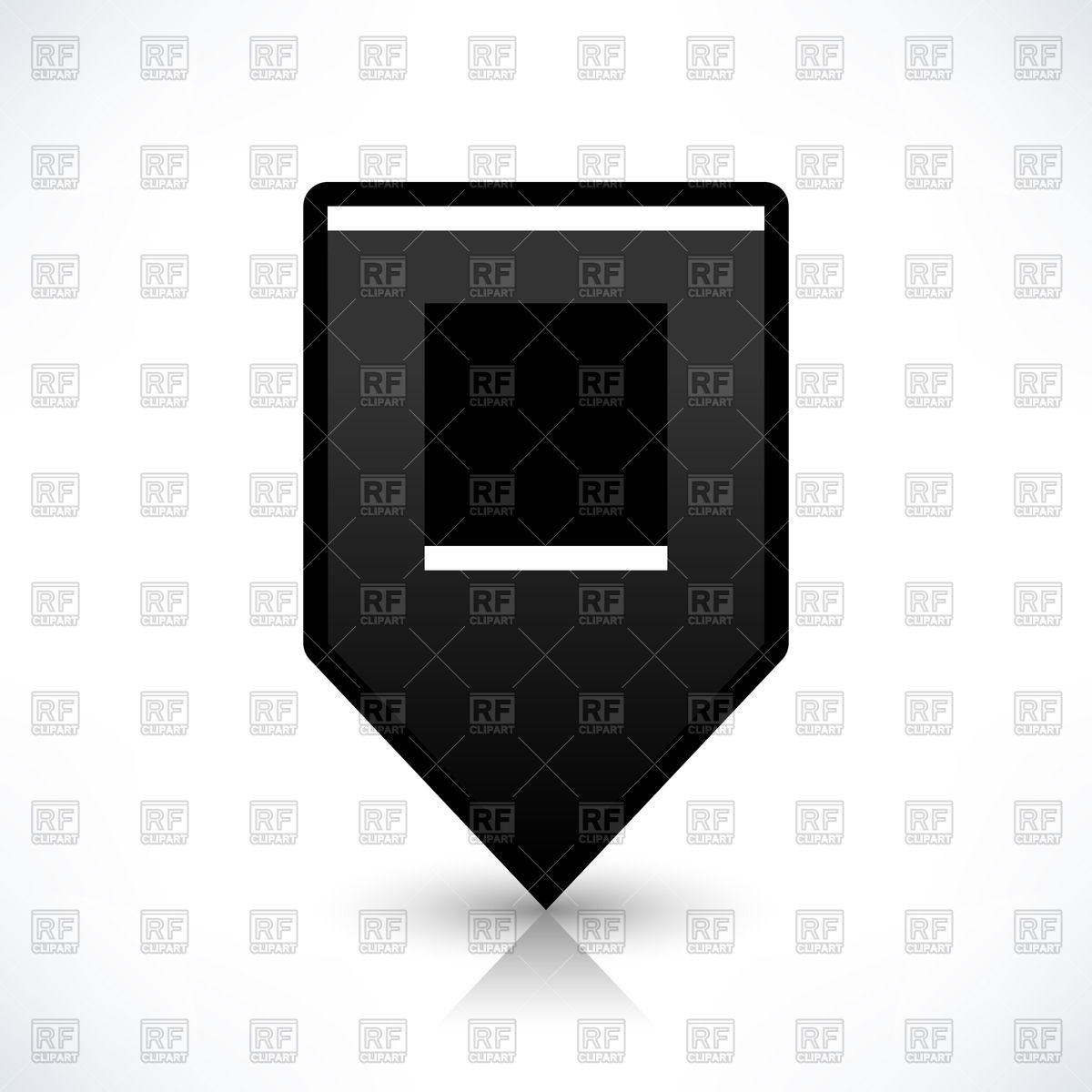 Square shaped dark grey map marker with black centre Vector Image.