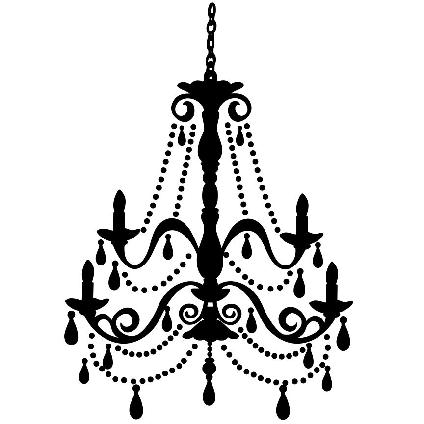 Chandelier clipart black and white, Chandelier black and.