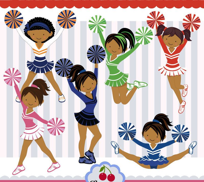 Dark Skin Cheerleaders,Dark Skin Girls,Cheerleaders clipart.