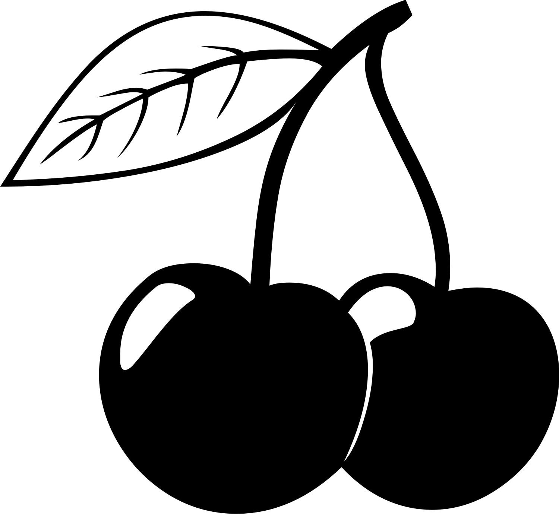 cherries clipart black and white #4
