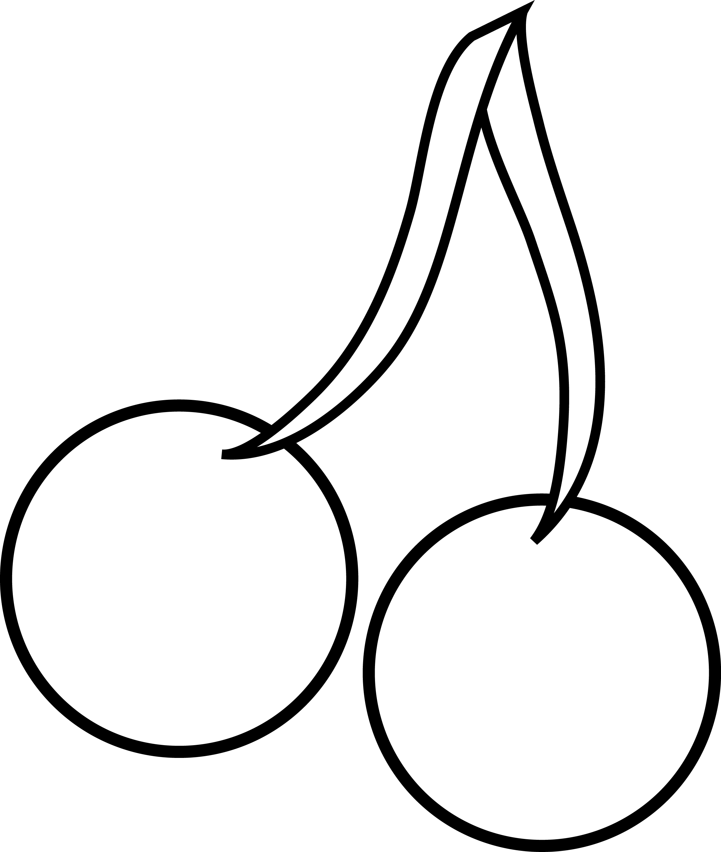 Two cherries clipart outline.