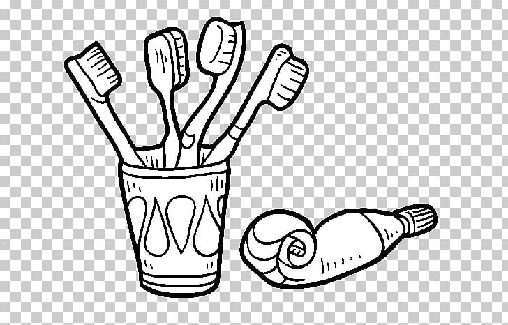 Toothbrush Toothpaste Tooth Brushing Coloring Book PNG.