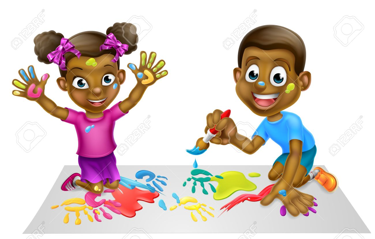 Cartoon black boy and girl children playing with paints.