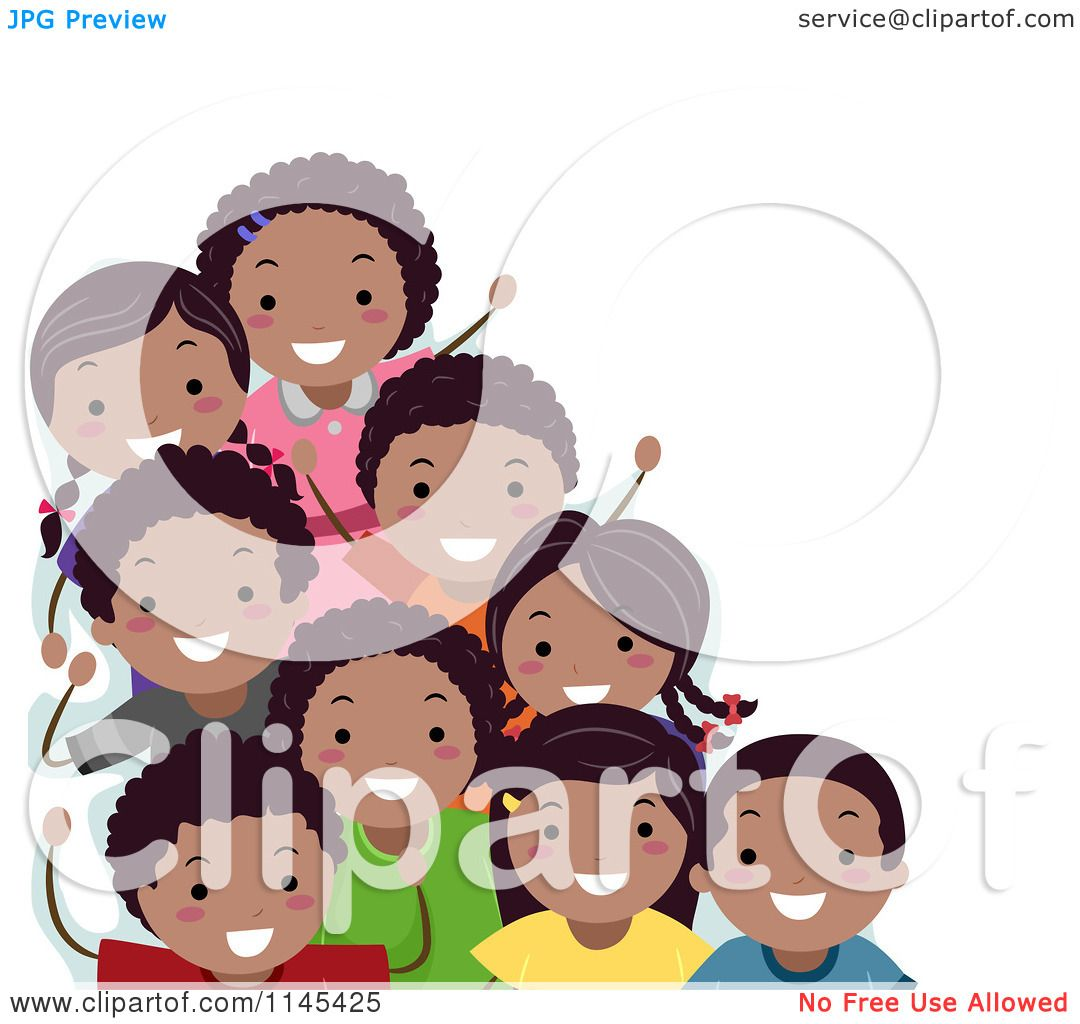 Cartoon of a Group of Happy Black Children.