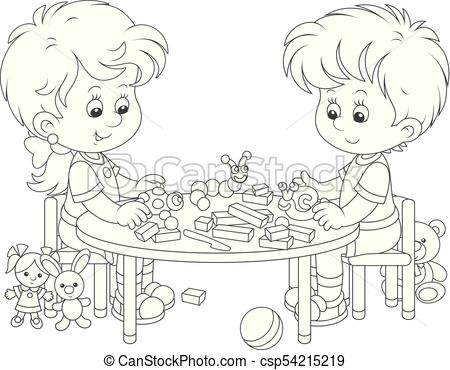 Children making plasticine toys.