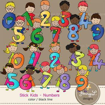 Stick Kids Clipart: Number Kids , Stick Figure Math.