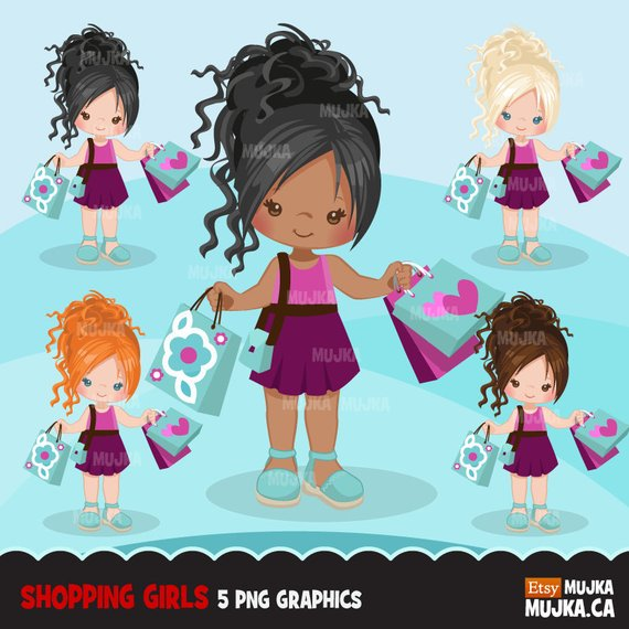 Shopping Girls clipart, chic characters, african american.