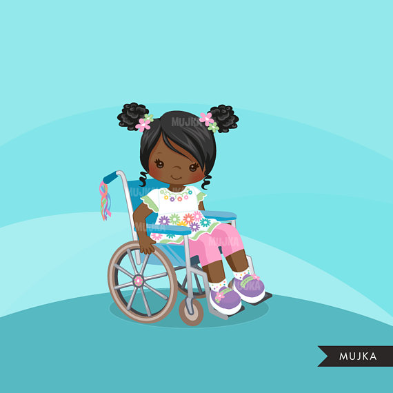 Special Needs Wheelchair clipart, disability, kids.